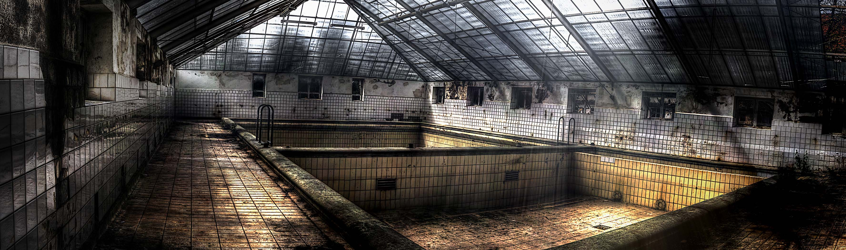 pool in abandoned city